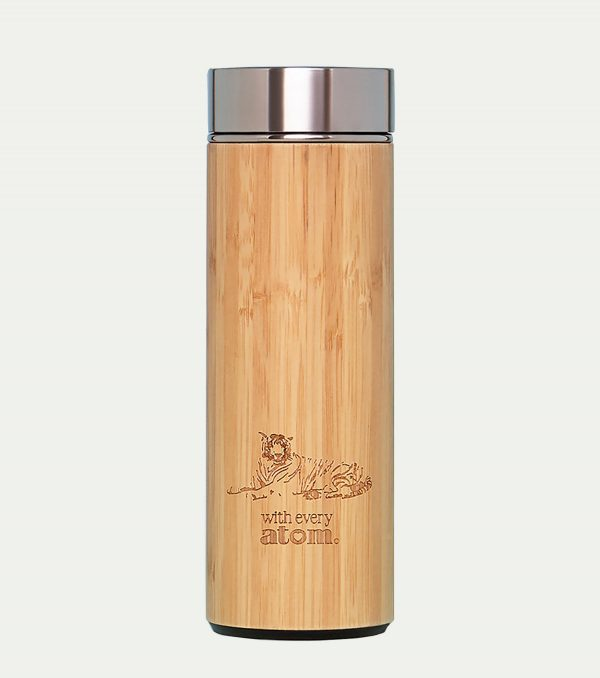 stainless steel and bamboo thermal mug