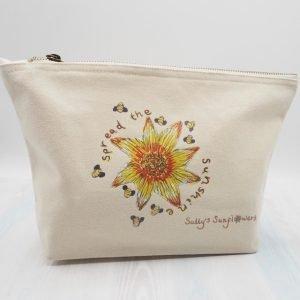 Cream sunflower make up bag